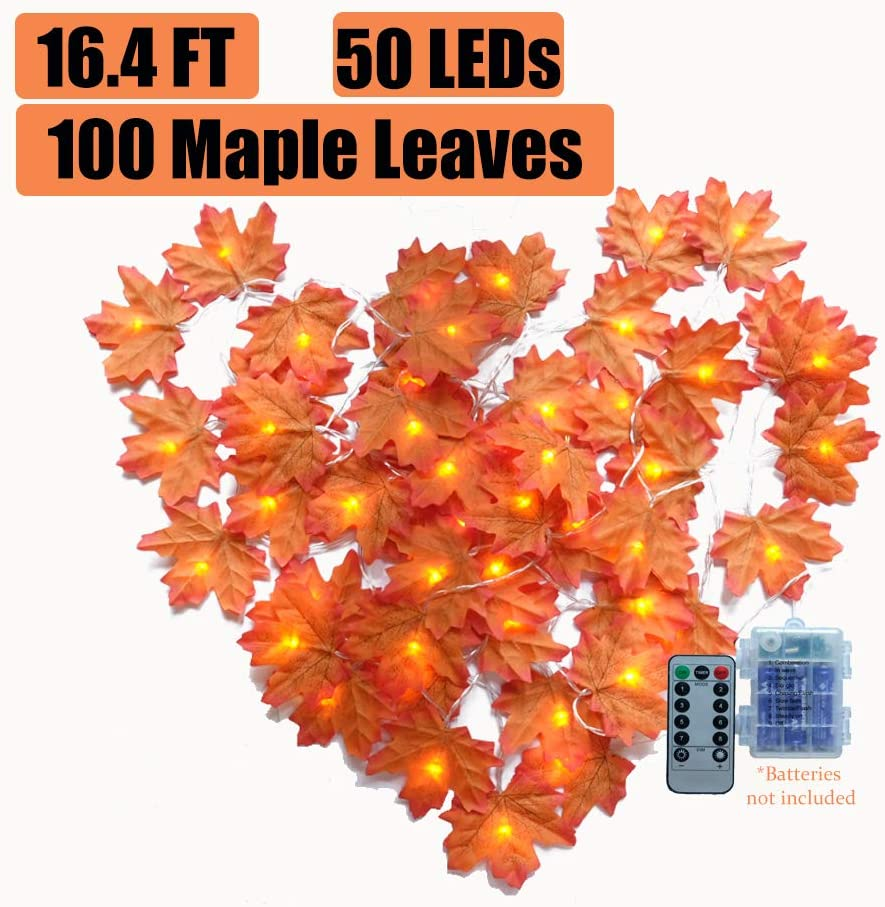 W17 Thanksgiving Decor, Fall Leaves Garland with Lights, Fall Lighted Garland, 16.4 ft 50LEDs Maple Leaves String Lights with Timer, Battery Powered, Autumn Garland, Autumn Leaf Lights Outdoor Indoor