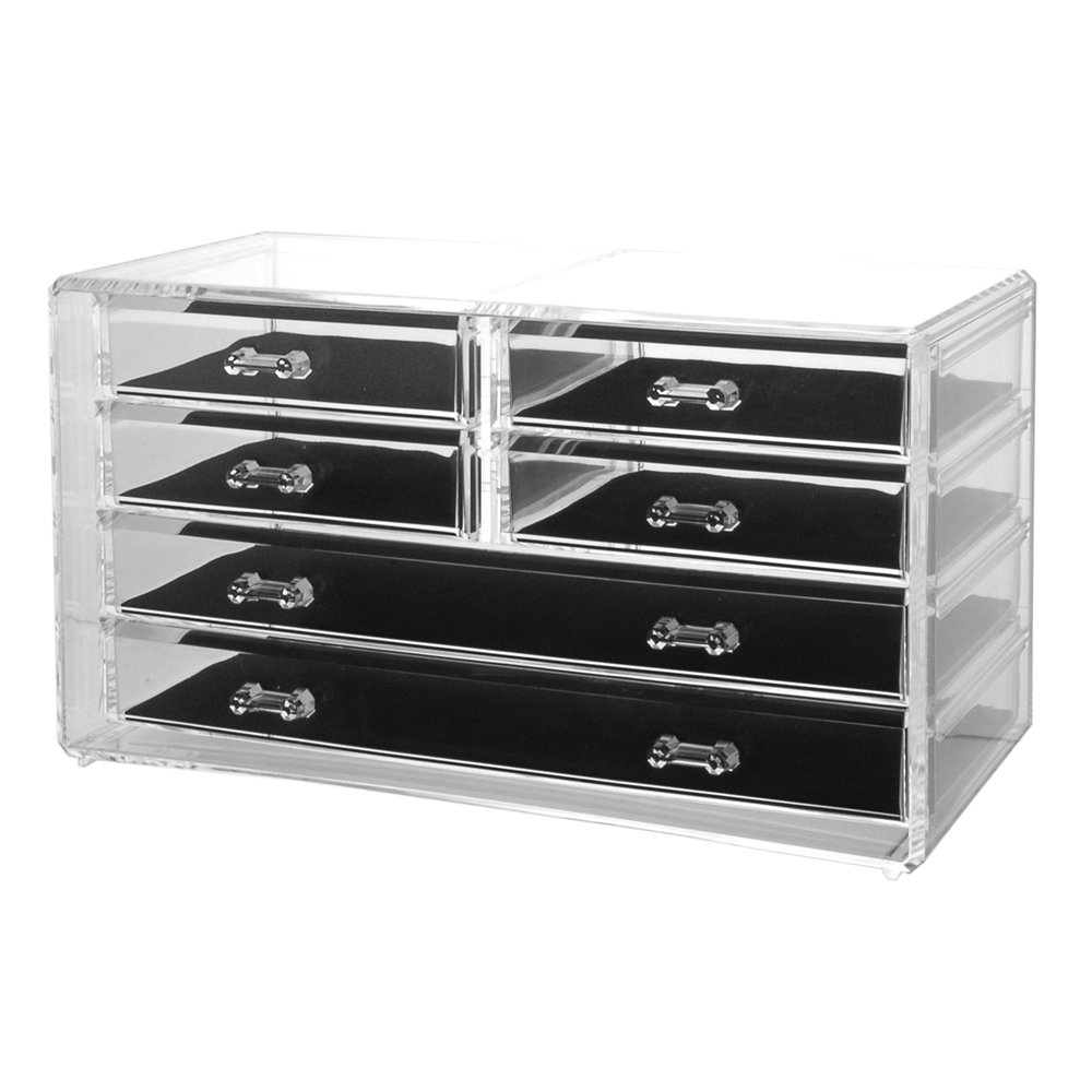 Amazoncom Deluxe 6drawer Jewelry Chest or Cosmetic Organizer