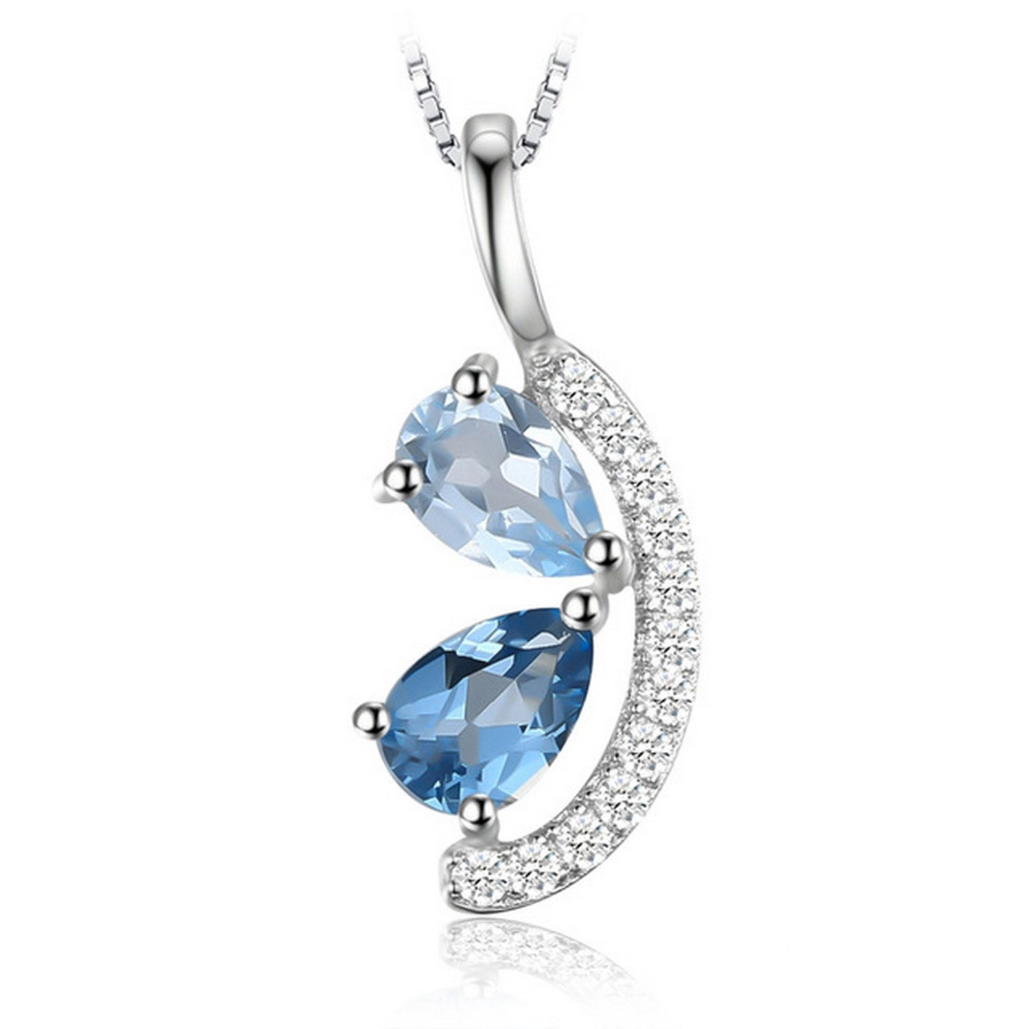 MMC Silver Pendants 1ct Sky Blue Topaz and London Blue Topaz Necklaces for Womens