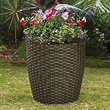 Indoor Outdoor Patio Garden Self Watering Wicker Planter, Raised Flower Herbs Succelents Plant, with Rolling Wheels (Brown)