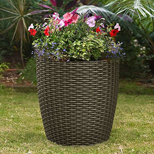 Indoor Outdoor Patio Garden Self Watering Wicker Planter, Raised Flower Herbs Succelents Plant, with Rolling Wheels (Brown) (Raised Indoor Planter)