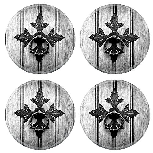 liili-natural-rubber-round-coasters-image-id-31781531-antique-door-knocker-on-old-door-black-and-whi