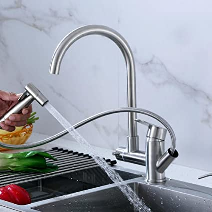 Amazon.com: Kitchen Sink Taps, Stainless Steel Swivel Spout With ...