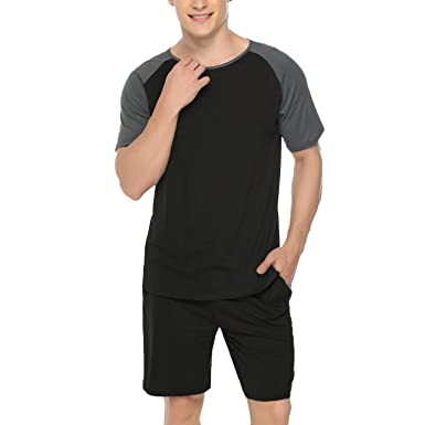 c4fe994d9643 Hawiton Men's Cotton Pajama Set Short Sleeve Crew Neck Contrast Lounge Sleepwear  Sets S-XL