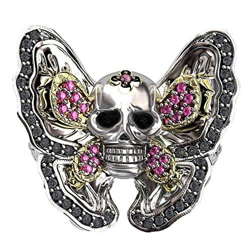 Black Diamond Butterfly Ring - 1