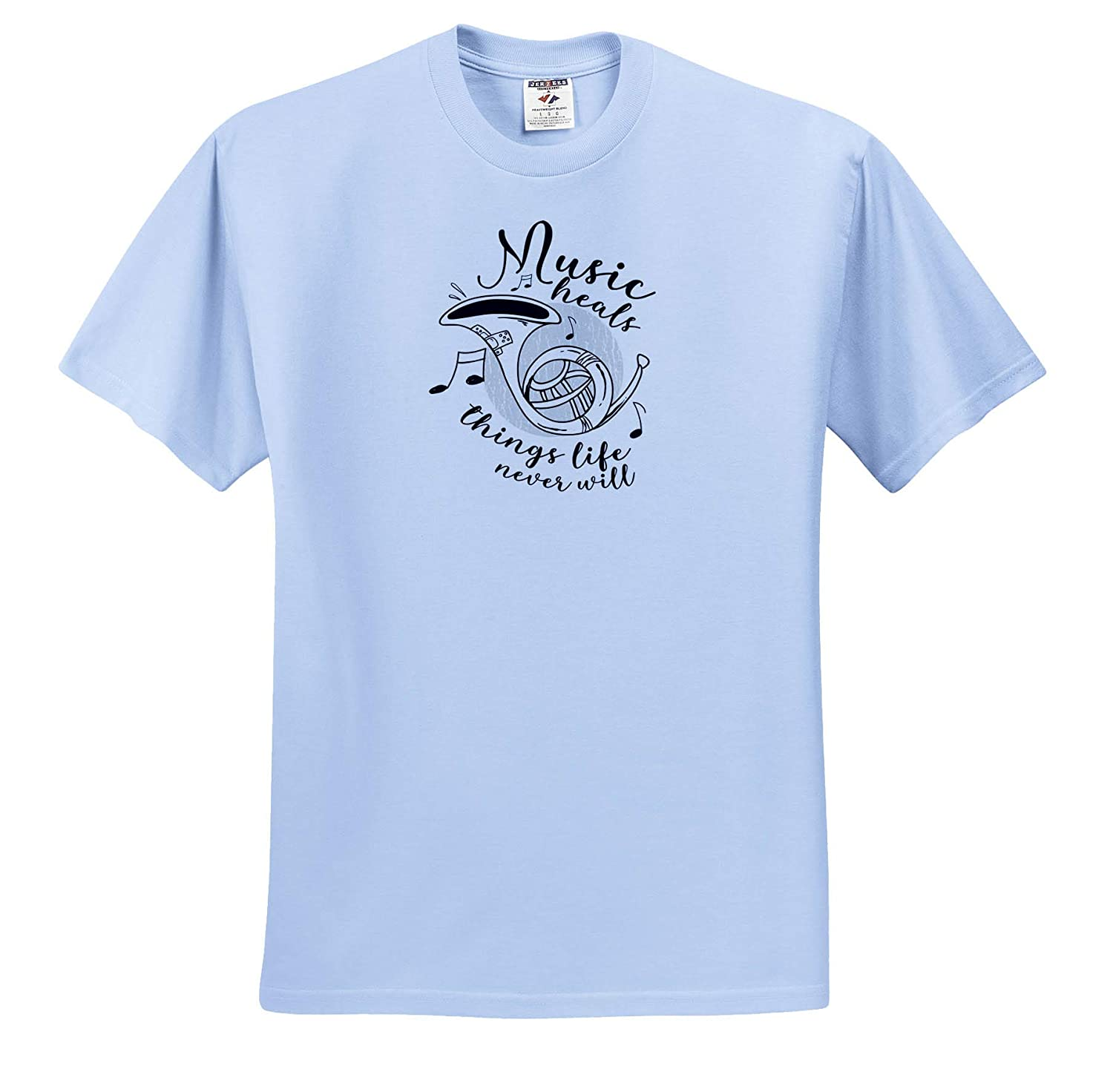 3dRose Sven Herkenrath Music Adult T-Shirt XL Music Heals Things Life Never Will Musically Clef ts/_319426