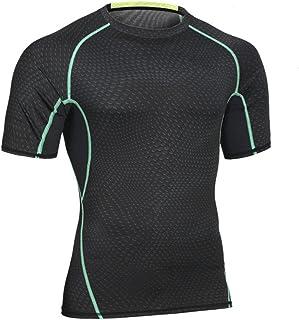 Abbigliamento da Uomo Abbigliamento Sportivo Abbigliamento Sportivo ad Alta Elasticità a Maniche Corte Abbigliamento Outdoor ad Asciugatura Rapida (Colore : Nero, Dimensione : L) Chlyuan