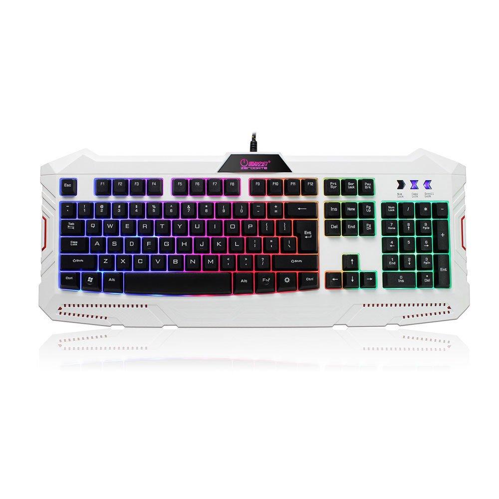 ANDROSET USB 104 Keys Ergonomic Cooling LED Rainbow Backlight Illuminated Gaming Keyboard (White)
