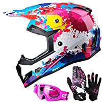 GLX Youth & Kids Motocross/ATV/Dirt Bike 3-pc Gear Combo Set - Helmet, Gloves & Goggles - DOT Certified (Large, Graffiti Pink & White)