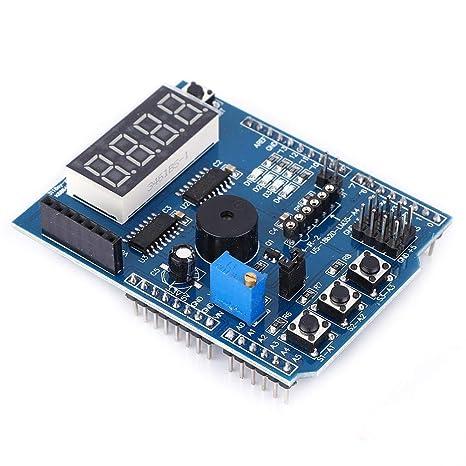 Placa de expansi/ón multifuncional Zunate Kit de aprendizaje b/ásico Shield de placa de expansi/ón multifuncional para Arduino UNO R3 adecuado para procesamiento flash Max//MSP VVVV u otro software inte