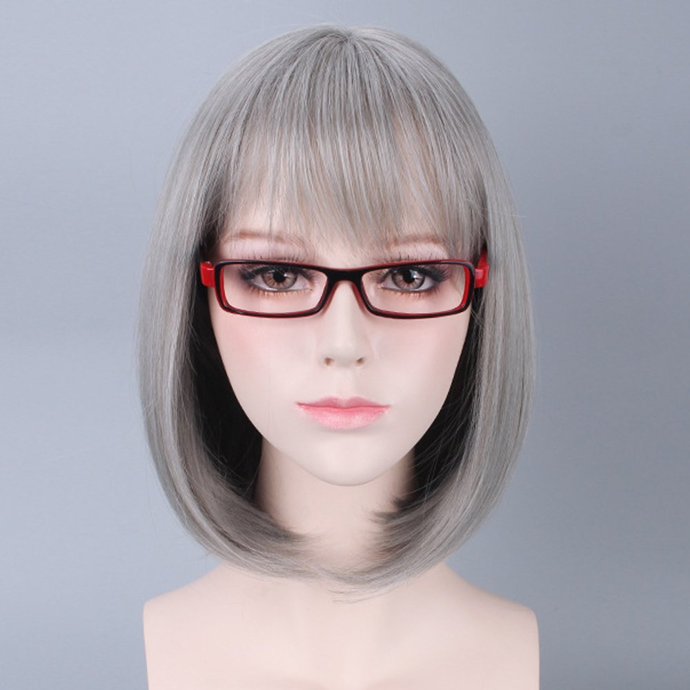 Bob Wig Grey Ombre Wigs Short Straight Synthetic Hair Lace Full Wig for Women Medium Length