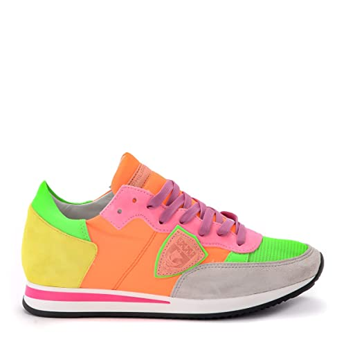 3dc69bedb3 Philippe Model Sneaker Tropez in Tessuto Arancio Fluo Multicolor, Taglia UK: