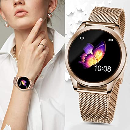 SmartDaily Gold Smart Watch for Women, Color Touch Screen Ladies Smartwatch Waterproof IP68, Activity Fitness Tracker with Heart Rate, Pedometer, ...