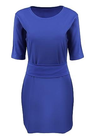 Kleider Damen Rundkragen 3/4 Arm Elegant Fashion Retro Eng Sommer Knielang  Sommerkleider Freizeitkleid: Amazon.de: Bekleidung