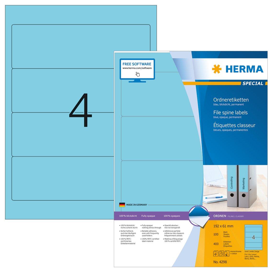 Herma 4298 Farbige Ordnerrücken Etiketten blau, blickdicht, breit kurz (192 x 61 mm) 400 Ordneretiketten, 100 Blatt DIN A4 Papier matt, bedruckbar, selbstklebend B000M22GVW | Wir haben von unseren Kunden Lob erhalten.