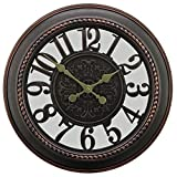 "22"" Antique Motif Gallery Large Rustic Wall Clocks with Dark Brown Finished"