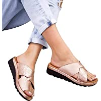 Women Foot Correction Sandals Summer shoes flat sole PU leather slippers Non slip Wear resistant Comfortable Slippers…