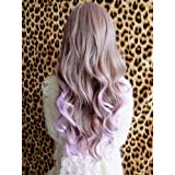 X&Y ANGEL New Two Tone Long Wavy Highlight Hair Wig Wigs Brown Mixed Purple K099