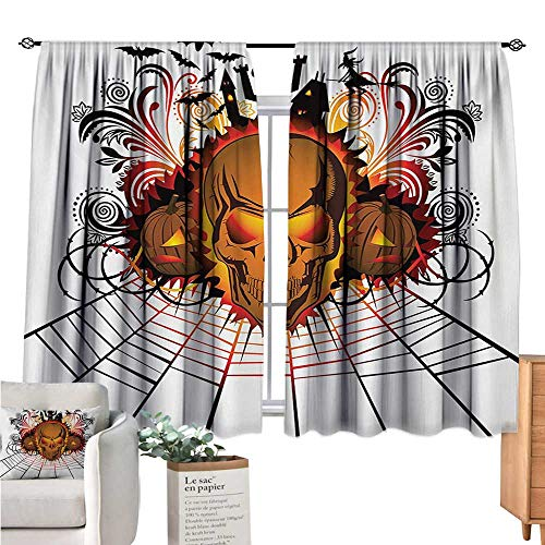 Linhomedecor Halloween Window Curtain 2 Panel Angry Skull Face on Bonfire Spirits of Other World Concept Bats Spider Web Design Multicolor Doorway Curtain W55 x L63 -