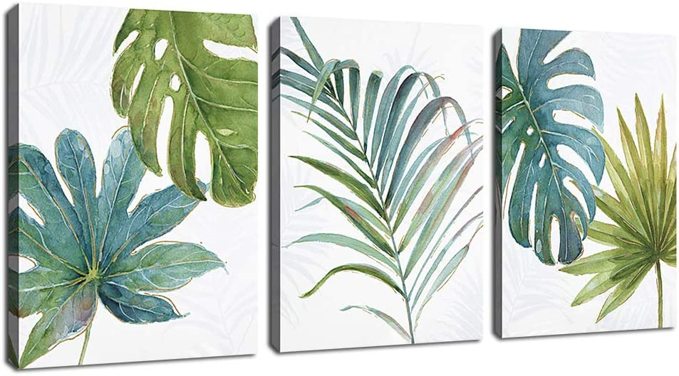 "Minimalism Green Leaf Wall Art Tropical Plant Leaves Canvas Pictures Contemporary Watercolor Painting Prints Artwork Bedroom Bathroom Living Room Wall Decor Framed Ready to Hang 16"" x 24"" x 3 Pieces"