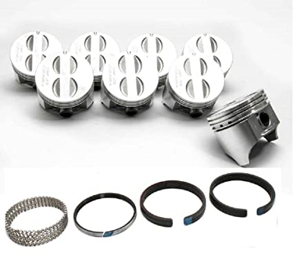 8 Ford 351W//5.8 Speed Pro Hypereutectic Coated Flat Top Pistons+MOLY Rings +60