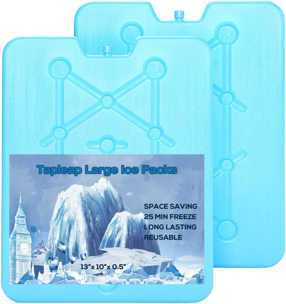 Tapleap Large Ice Packs for Coolers - 13 x 10 x 0.5 inch Freezer Packs - Long-Lasting and Reusable Dry Ice Blocks, 25 Minute Quick Freeze - Set of 2