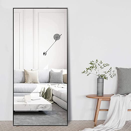 Amazon Com Self Full Length Floor Mirror 71 X24 Large Rectangle Wall Mirror Standing Hanging Or Leaning Against Wall For Bedroom Dressing And Wall Mounted Thin Frame Mirror Black Furniture Decor