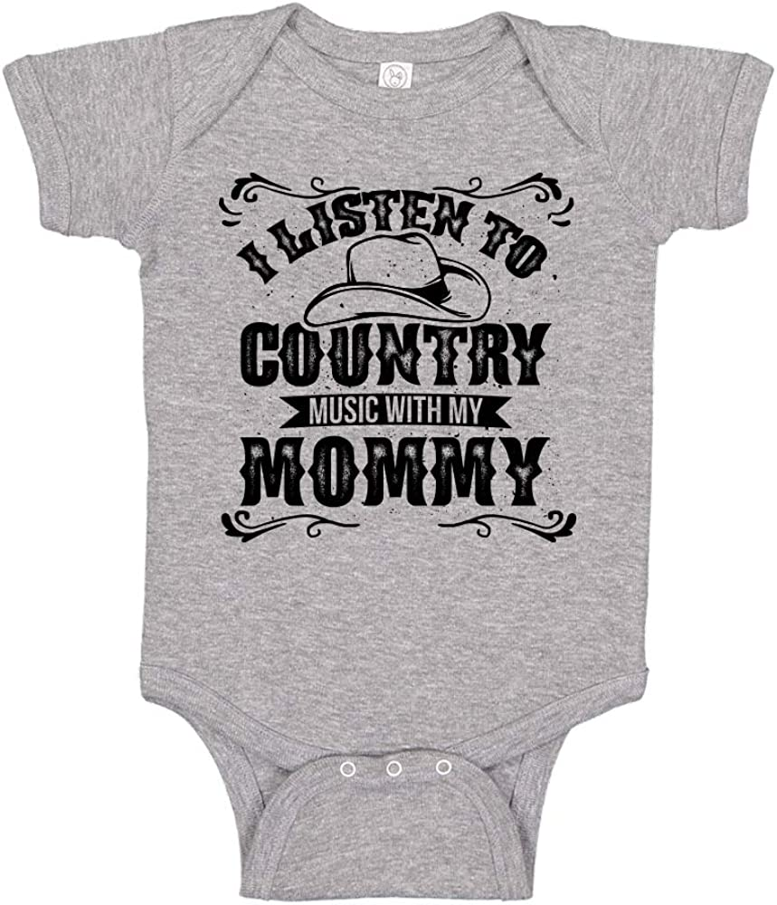 Baby Bodysuit//Toddler T-Shirt I Listen to Country Music with My Mommy Customize with Daddy, Auntie, Uncle, Grandpa, Grandma