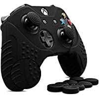 CHINFAI Xbox One/ Xbox One S Controller Silicone Skin Case Anti-slip Protective Grip Cover for Xbox 1 with Thumbstick Caps Set (Black)