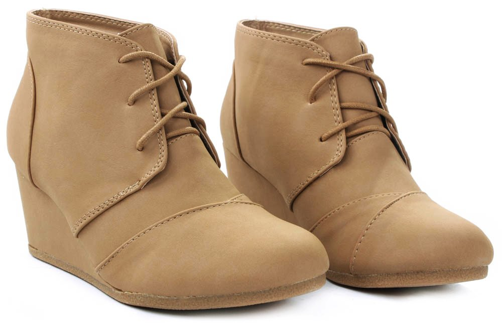 JJF Shoes Aloe Tan Lace-up Faux Nubuck High Top Wedge Ankle Sneaker Bootie-8.5 by JJF Shoes (Image #3)