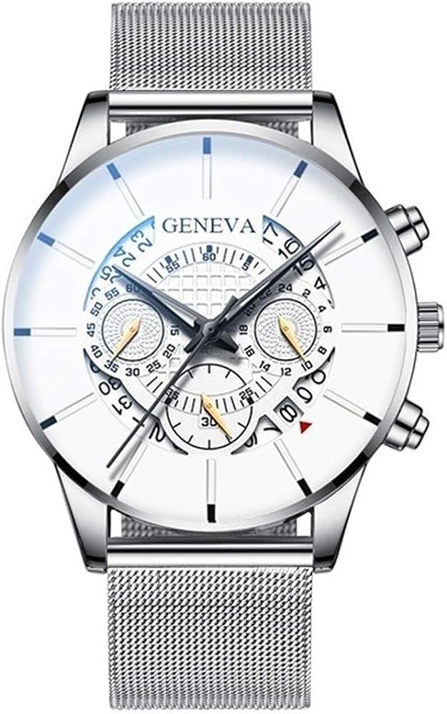Reloj para Hombres Reloj para Hombres Cronógrafo de diseño para Hombres Calendario de Acero Inoxidable Reloj de Pulsera de Cuarzo Reloj Deportivo para Hombres Reloj de Ginebra Horas
