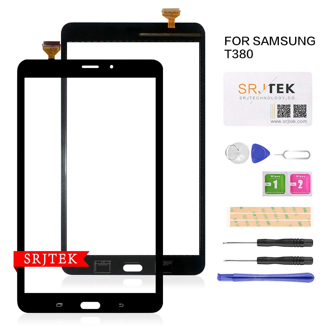 Touch Screen Replacement T380 for Samsung Galaxy Tab A 8.0 2017 SM-T380 Touch Glass Digitizer Panel WiFi NO LCD Black