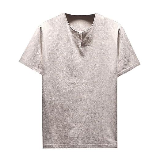 b07170744 iYYVV Summer Men Comfy Linen T-Shirt Short Sleeve Soft Solid Blouse |  Amazon.com