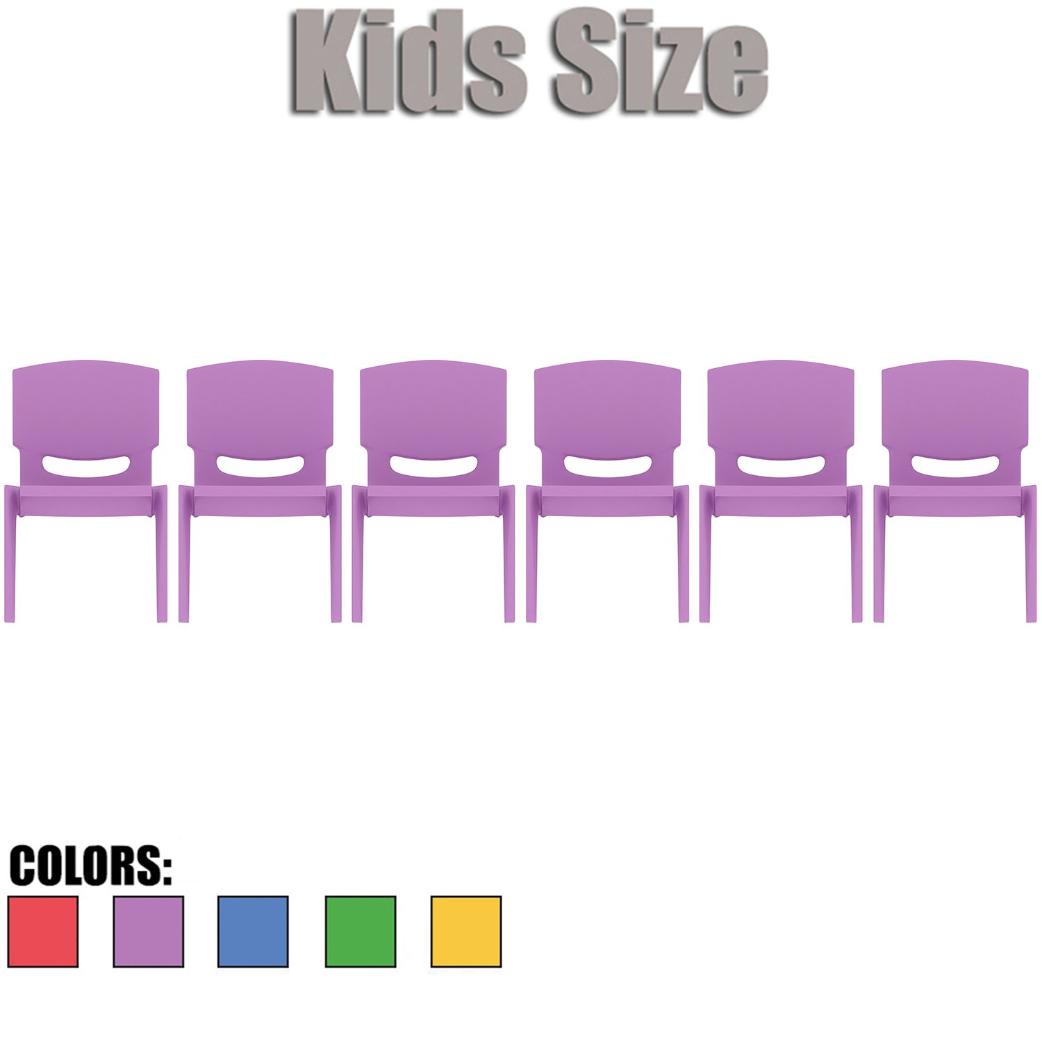 2xhome - Set of Six (6) - Purple - Kids Size Plastic Side Chair 12'' Seat Height Purple Childs Chair Childrens Room School Chairs No Arm Arms Armless Molded Plastic Seat Stackable