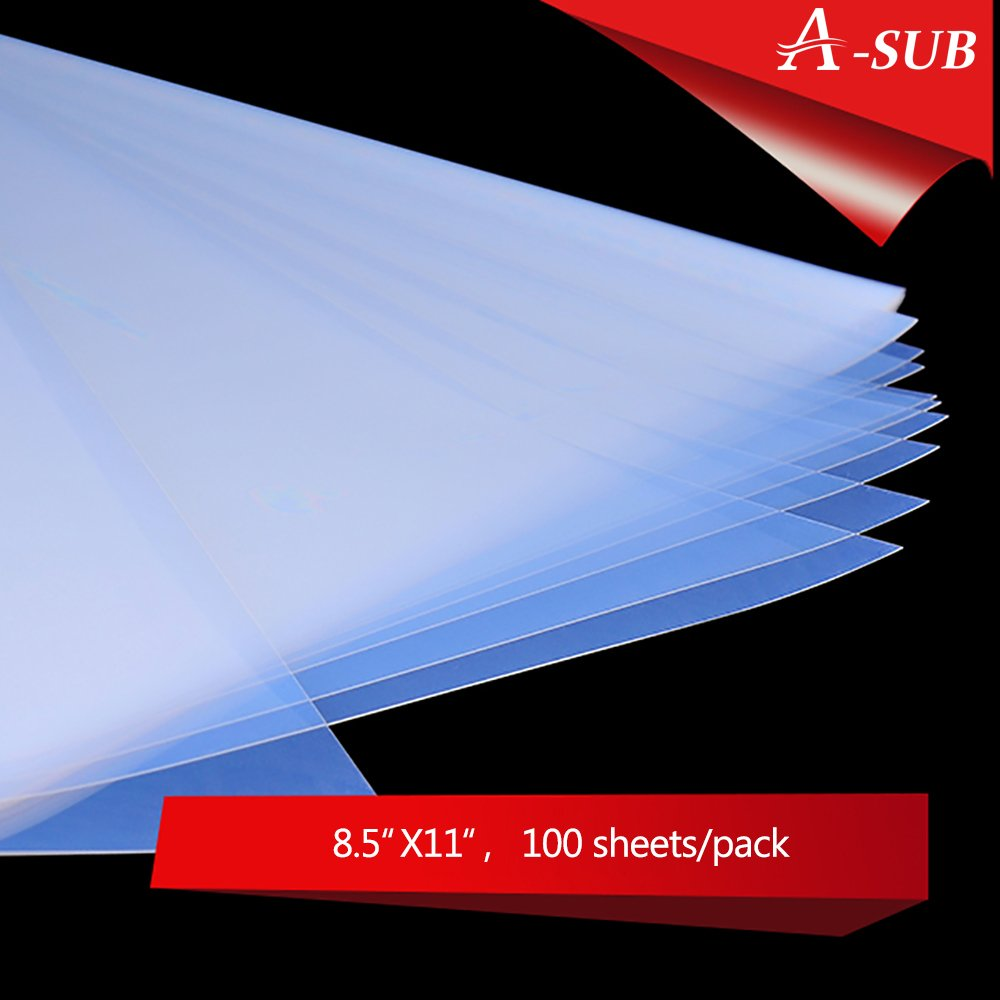 A-SUB 100 Sheets Waterproof Inkjet Transparency Film 8.5 x 11 inch, for Screen Printing