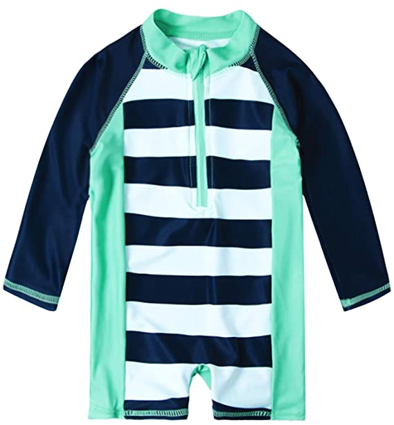 Uideazone Baby Toddler Boys Girls Zipper Rash Guard Swimsuit with UPF 50+ One Piece Beach Swimwear Bathing Suits 6-36 Months
