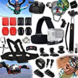Xtech® PARACHUTING Accessories Kit for GoPro Hero 4 3+ 3 2 1 Hero4 Hero3 Hero2, Hero 4 Silver, Hero 4 Black, Hero 3+ Hero3+ and for Bungee Jumping, Cliff Diving, Parachuting, Base Jumping, Paragliding, Hang Gliding Includes: Helmet Harness Mount + Head Strap Mount + Chest Strap Mount + Camera Wrist Mount + 2 J-Hooks + Selfie Stick Monopod Pole + 3 Curved Adhesive Stickers + Curved Surface Mounts + MORE