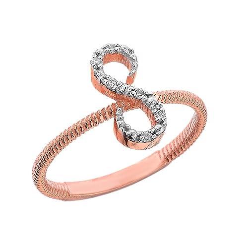 Amazon Com Women S 14k Rose Gold Diamond Script Initial