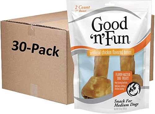 Good n Fun Chicken Flavor Rawhide Bones for Dogs
