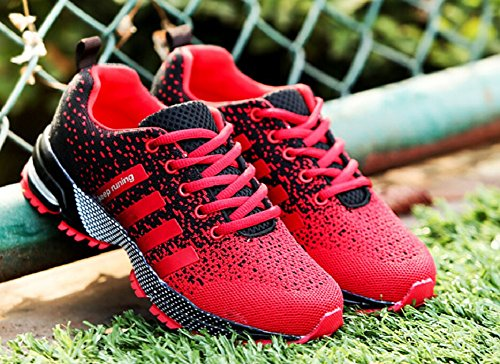 JiYe Athletic Shoes Men's Women's Outdoor Tennis Jogging Walking Fashion Sneaker,Running Shoes,Black Red,9.5US-Women/8.5US-Men