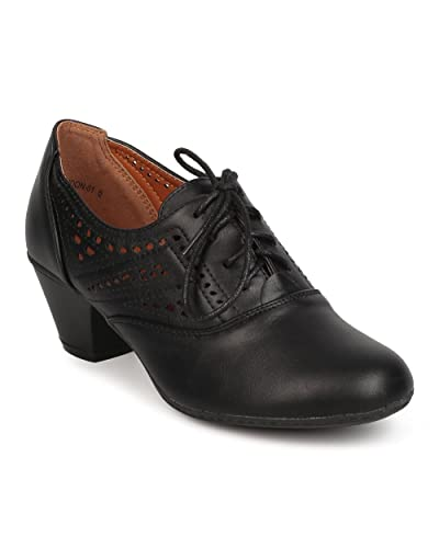 8930938c7cff Women Leatherette Lace Up Perforated Chunky Heel Oxford Bootie FC20 - Black  (Size  6.5