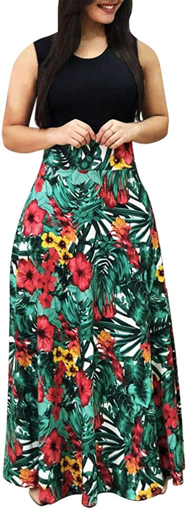 Womens Long Dress,TOTOD Fashion Long Sleeve Floral Boho Print O-Neck Plus Size Ladies Casual Maxi Dresses