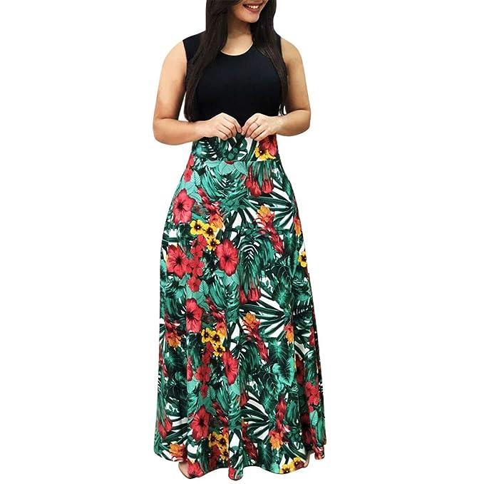 Chaofanjiancai Elegant Womens Maxi Dress Floral Printed Summer Short Sleeves Casual O-Neck Long Maxi Dress