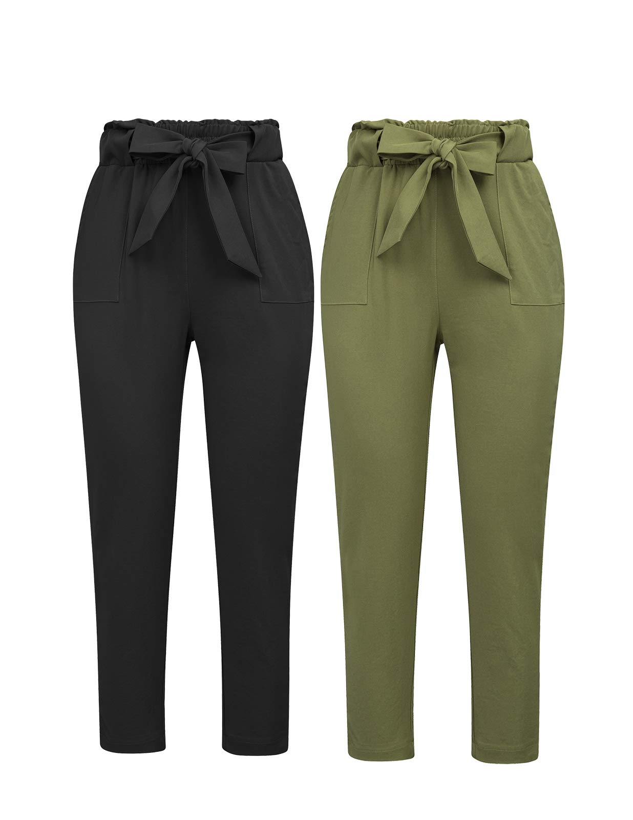 GRACE KARIN Women's Pants Trouser Slim Casual Cropped Paper Bag Waist Pants with Pockets (X-Large, Black+Army Green)