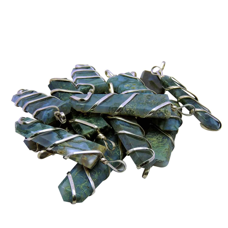 Satyamani Natural Moss Agate Flat Wrapped Pendant
