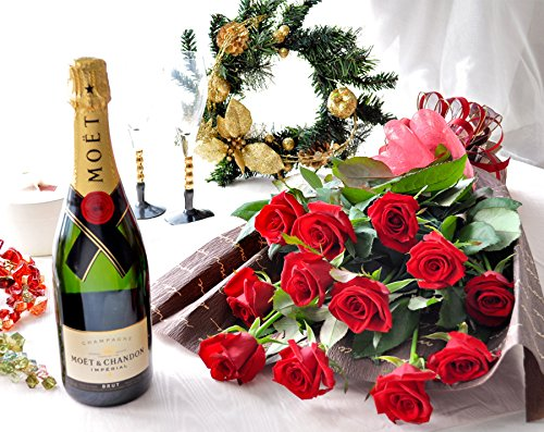 花由 生花 赤バラ 1ダースの花束 と シャンパンのセット <冷蔵便でお届け> B017EJUC5W  赤
