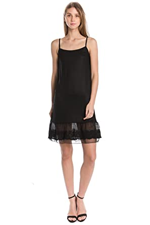 52d1d1fe0739 Lace Knit Full Slip Dress Extender- Circle Lace and Adjustable Straps (Black,  Small
