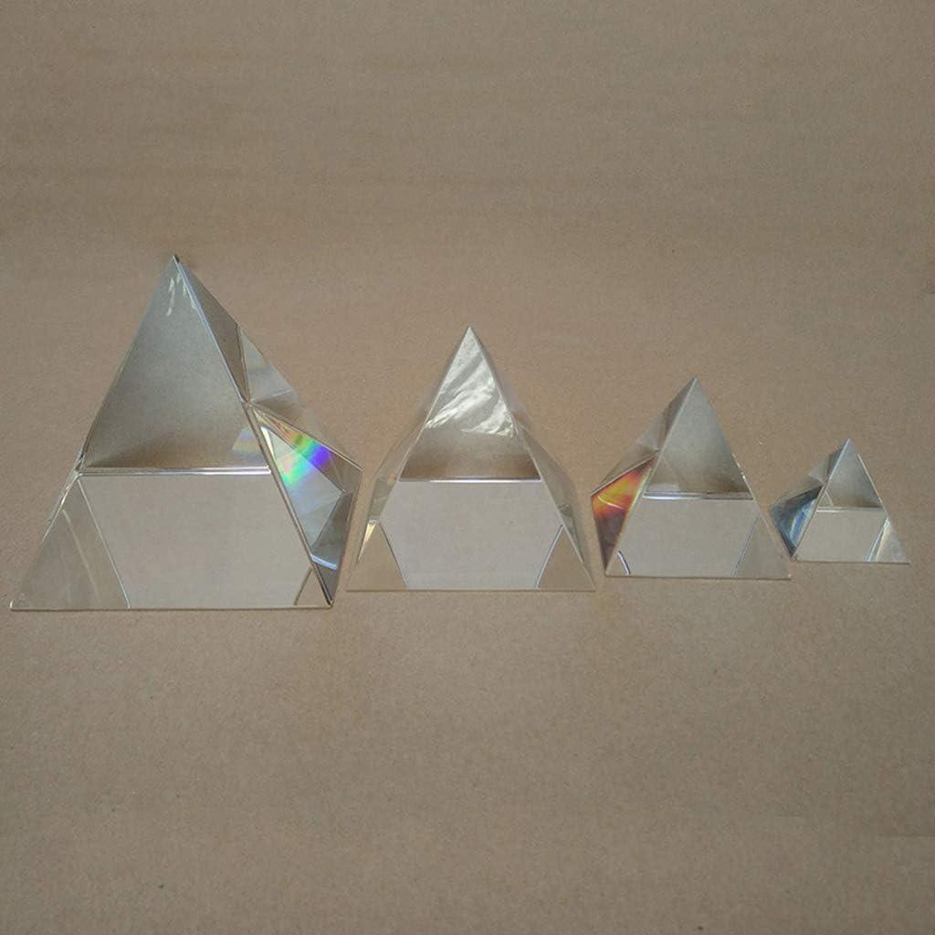 BIlinli Pyramid Crystal Prism Desk Ornament Optical Shape Glass Four Sides for Optical