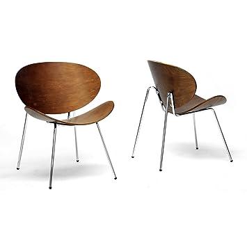 Wonderful Baxton Studio Reaves Walnut Effect Mid Century Modern Accent Chair, Set Of 2