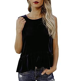 4930e50ef03 Nulibenna Womens Velvet Sleeveless Ruffle Peplum Blouse Keyhole Back  Babydoll Summer Tops
